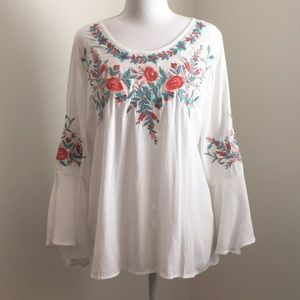 Floral Embroidered Blouse with Cascade Sleeves
